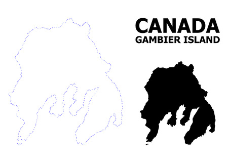 Vector contour Map of Gambier Island with caption. Map of Gambier Island is isolated on a white background. Simple flat dotted geographic map template.