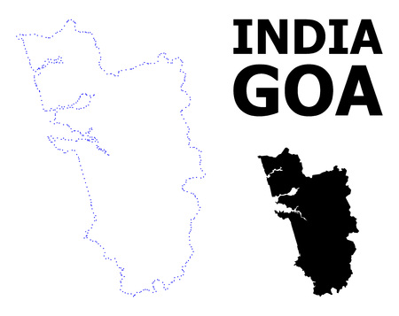 Vector contour Map of Goa State with name. Map of Goa State is isolated on a white background. Simple flat dotted geographic map template.