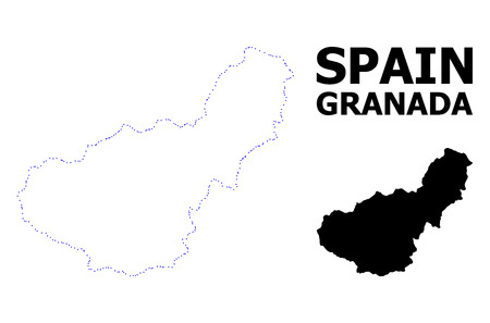 Vector contour Map of Granada Province with title. Map of Granada Province is isolated on a white background. Simple flat dotted geographic map template.  イラスト・ベクター素材