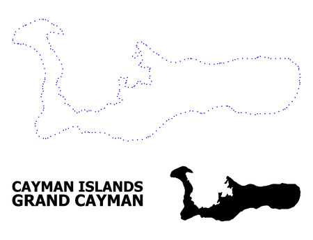 Vector contour Map of Grand Cayman Island with title. Map of Grand Cayman Island is isolated on a white background. Simple flat dotted geographic map template. Illustration