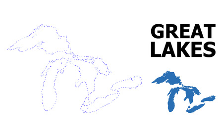 Vector contour Map of Great Lakes with caption. Map of Great Lakes is isolated on a white background. Simple flat dotted geographic map template.
