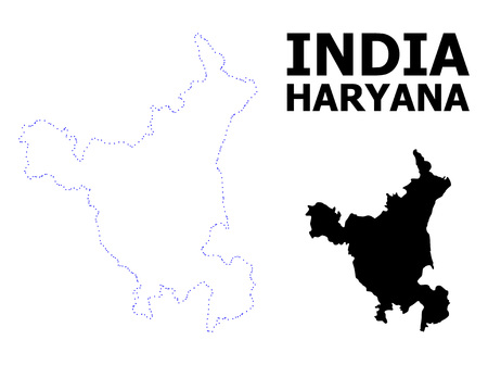 Vector contour Map of Haryana State with caption. Map of Haryana State is isolated on a white background. Simple flat dotted geographic map template. Illustration