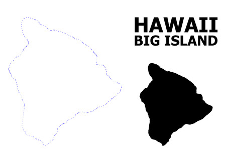 Vector contour Map of Hawaii Big Island with title. Map of Hawaii Big Island is isolated on a white background. Simple flat dotted geographic map template.