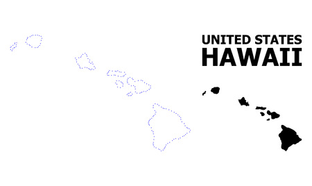 Vector contour Map of Hawaii State with name. Map of Hawaii State is isolated on a white background. Simple flat dotted geographic map template.
