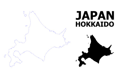 Vector contour Map of Hokkaido Island with name. Map of Hokkaido Island is isolated on a white background. Simple flat dotted geographic map template. Illustration