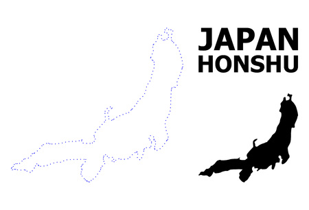 Vector contour Map of Honshu Island with caption. Map of Honshu Island is isolated on a white background. Simple flat dotted geographic map template. Illustration