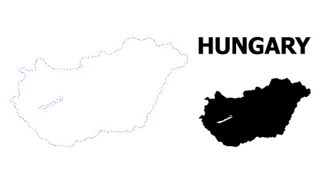 Vector contour Map of Hungary with title. Map of Hungary is isolated on a white background. Simple flat dotted geographic map template.