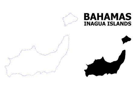 Vector contour Map of Inagua Islands with name. Map of Inagua Islands is isolated on a white background. Simple flat dotted geographic map template.