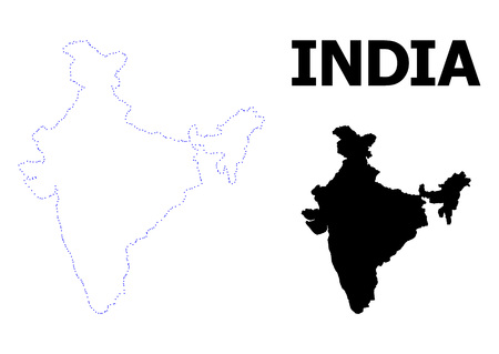 Vector contour Map of India with name. Map of India is isolated on a white background. Simple flat dotted geographic map template.