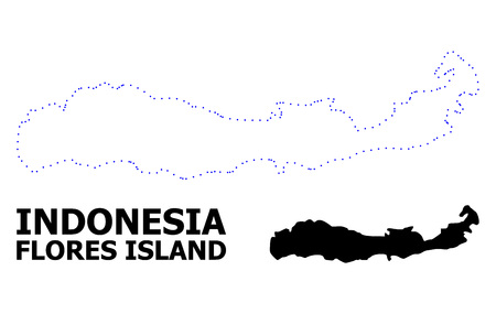 Vector contour Map of Indonesia - Flores Island with title. Map of Indonesia - Flores Island is isolated on a white background. Simple flat dotted geographic map template.