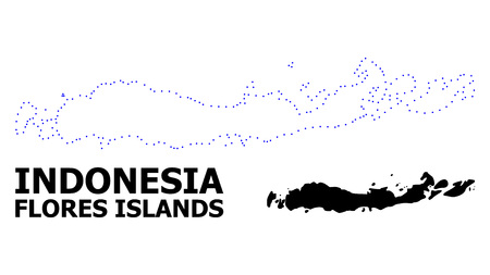 Vector contour Map of Indonesia - Flores Islands with title. Map of Indonesia - Flores Islands is isolated on a white background. Simple flat dotted geographic map template.