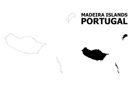 Vector contour Map of Madeira Islands with name. Map of Madeira Islands is isolated on a white background. Simple flat dotted geographic map template. Illustration