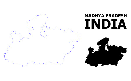 Vector contour Map of Madhya Pradesh State with title. Map of Madhya Pradesh State is isolated on a white background. Simple flat dotted geographic map template. Illustration