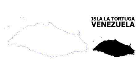 Vector contour Map of Isla La Tortuga with caption. Map of Isla La Tortuga is isolated on a white background. Simple flat dotted geographic map template.