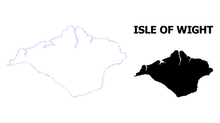 Vector contour Map of Isle of Wight with title. Map of Isle of Wight is isolated on a white background. Simple flat dotted geographic map template. Illustration