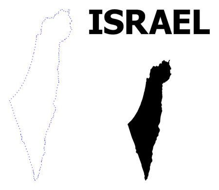 Vector contour Map of Israel with name. Map of Israel is isolated on a white background. Simple flat dotted geographic map template.
