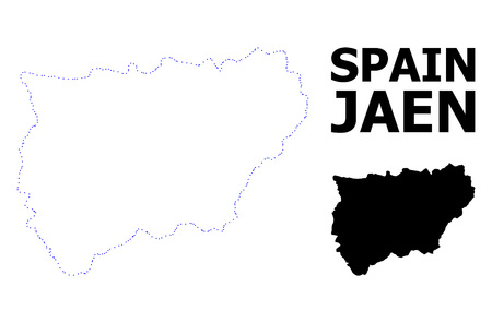 Vector contour Map of Jaen Spanish Province with caption. Map of Jaen Spanish Province is isolated on a white background. Simple flat dotted geographic map template.