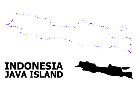 Vector contour Map of Java Island with name. Map of Java Island is isolated on a white background. Simple flat dotted geographic map template.