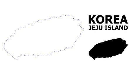 Vector contour Map of Jeju Island with caption. Map of Jeju Island is isolated on a white background. Simple flat dotted geographic map template. Illustration