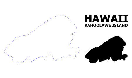 Vector contour Map of Kahoolawe Island with title. Map of Kahoolawe Island is isolated on a white background. Simple flat dotted geographic map template. Illustration