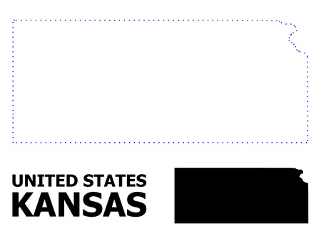 Vector contour Map of Kansas State with title. Map of Kansas State is isolated on a white background. Simple flat dotted geographic map template. Illustration