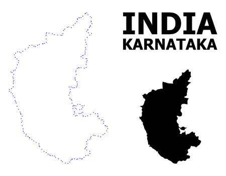Vector contour Map of Karnataka State with caption. Map of Karnataka State is isolated on a white background. Simple flat dotted geographic map template.