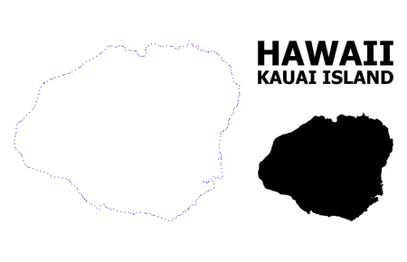 Vector contour Map of Kauai Island with title. Map of Kauai Island is isolated on a white background. Simple flat dotted geographic map template.