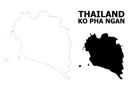 Vector contour Map of Ko Pha Ngan with caption. Map of Ko Pha Ngan is isolated on a white background. Simple flat dotted geographic map template. Illustration