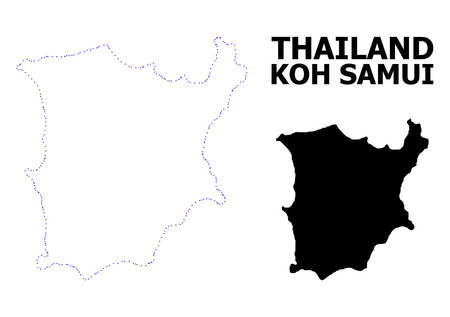 Vector contour Map of Koh Samui with name. Map of Koh Samui is isolated on a white background. Simple flat dotted geographic map template.