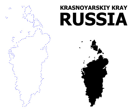 Vector contour Map of Krasnoyarskiy Kray with caption. Map of Krasnoyarskiy Kray is isolated on a white background. Simple flat dotted geographic map template.
