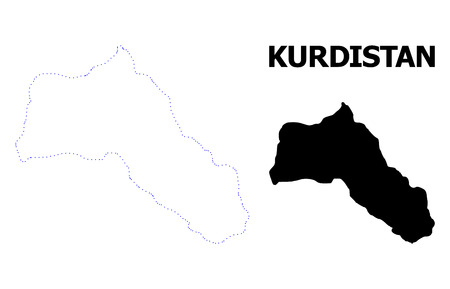 Vector contour Map of Kurdistan with title. Map of Kurdistan is isolated on a white background. Simple flat dotted geographic map template.