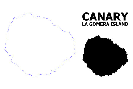 Vector contour Map of La Gomera Island with caption. Map of La Gomera Island is isolated on a white background. Simple flat dotted geographic map template. Illusztráció