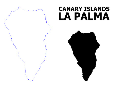 Vector contour Map of La Palma Island with title. Map of La Palma Island is isolated on a white background. Simple flat dotted geographic map template.