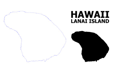 Vector contour Map of Lanai Island with name. Map of Lanai Island is isolated on a white background. Simple flat dotted geographic map template.