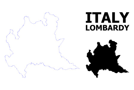 Vector contour Map of Lombardy region with title. Map of Lombardy region is isolated on a white background. Simple flat dotted geographic map template. Vector Illustration