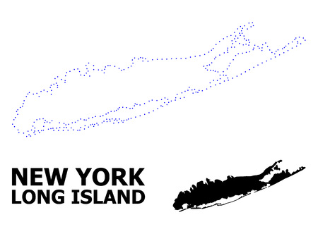 Vector contour Map of Long Island with caption. Map of Long Island is isolated on a white background. Simple flat dotted geographic map template. Ilustrace
