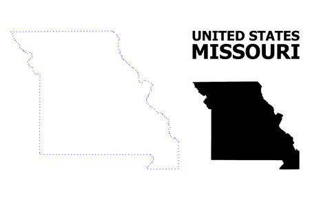 Vector contour Map of Missouri State with name. Map of Missouri State is isolated on a white background. Simple flat dotted geographic map template. Ilustração