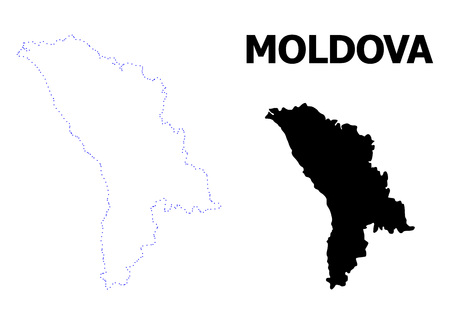 Vector contour Map of Moldova with caption. Map of Moldova is isolated on a white background. Simple flat dotted geographic map template.