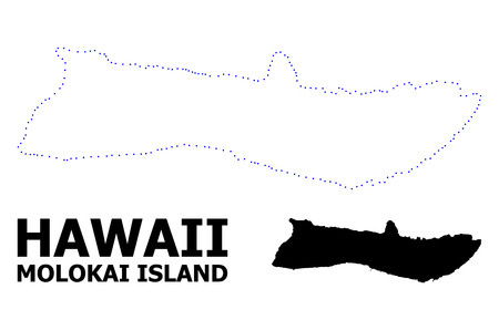 Vector contour Map of Molokai Island with title. Map of Molokai Island is isolated on a white background. Simple flat dotted geographic map template. Illustration