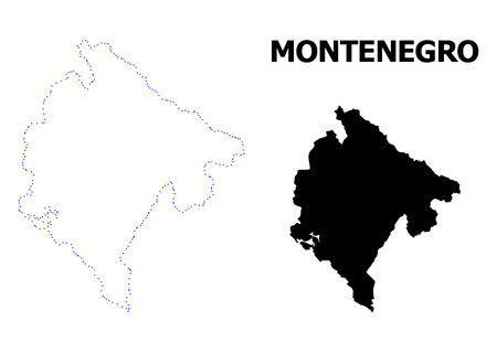 Vector contour Map of Montenegro with name. Map of Montenegro is isolated on a white background. Simple flat dotted geographic map template.  イラスト・ベクター素材