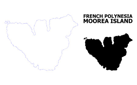 Vector contour Map of Moorea Island with title. Map of Moorea Island is isolated on a white background. Simple flat dotted geographic map template.