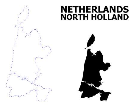 Vector contour Map of North Holland with caption. Map of North Holland is isolated on a white background. Simple flat dotted geographic map template.
