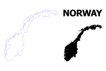 Vector contour Map of Norway with title. Map of Norway is isolated on a white background. Simple flat dotted geographic map template. Ilustrace