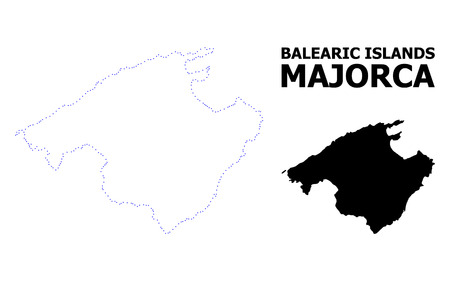 Vector contour Map of Majorca with name. Map of Majorca is isolated on a white background. Simple flat dotted geographic map template.