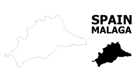Vector contour Map of Malaga Province with caption. Map of Malaga Province is isolated on a white background. Simple flat dotted geographic map template. Ilustração