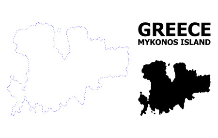 Vector contour Map of Mykonos Island with name. Map of Mykonos Island is isolated on a white background. Simple flat dotted geographic map template.