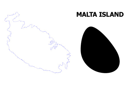 Vector contour Map of Malta Island with caption. Map of Malta Island is isolated on a white background. Simple flat dotted geographic map template.