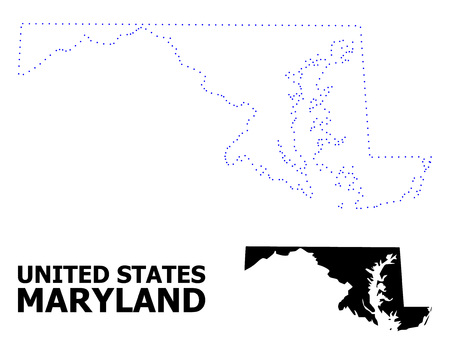 Vector contour Map of Maryland State with title. Map of Maryland State is isolated on a white background. Simple flat dotted geographic map template.