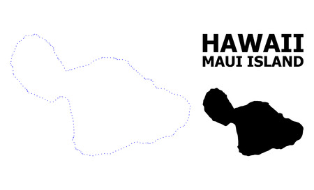 Vector contour Map of Maui Island with caption. Map of Maui Island is isolated on a white background. Simple flat dotted geographic map template.