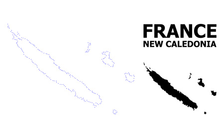 Vector contour Map of New Caledonia with caption. Map of New Caledonia is isolated on a white background. Simple flat dotted geographic map template.